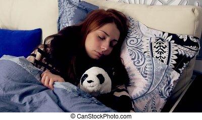 gooien, vrouw, draaien, bed., slapende