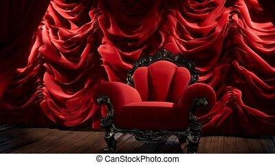 gordijn, luxueus, stoel, theater, toneel