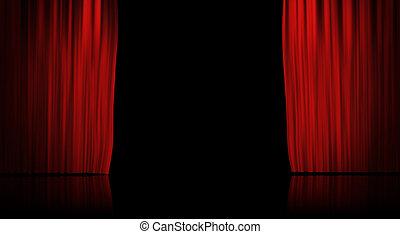 gordijn, rode achtergrond, toneel