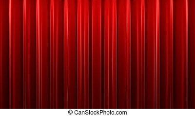 gordijn, rood, fluweel, theater
