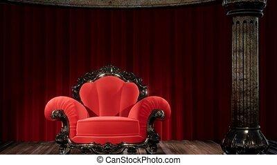 gordijn, theater, toneel, stoel, luxueus
