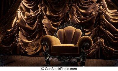 gordijn, toneel, luxueus, stoel, theater