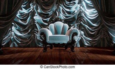 gordijn, toneel, stoel, theater, luxueus