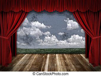 gordijnen, fluweel, dramatisch, theater, rood, toneel