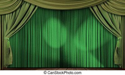 gordijnen, groene, weefsel, theater