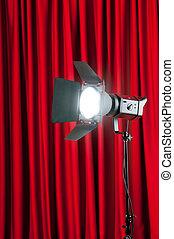 gordijnen, wtih, projector, ruimte, tekst, lichten, jouw