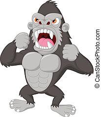 gorilla, spotprent, boos, karakter