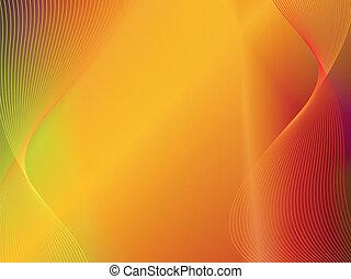 goud, abstract, gele, golf, achtergrond, sinaasappel
