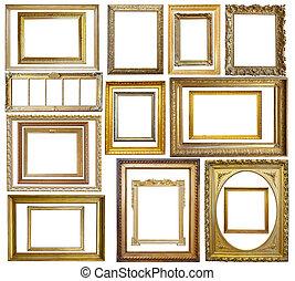 goud, afbeelding, set, frame, ouderwetse