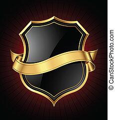 goud, black , schild, lint