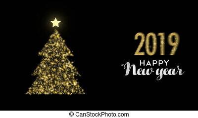 goud, boompje, dennenboom, 2019, mal, jaar, nieuw, schitteren, kaart