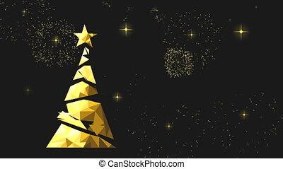 goud, boompje, poly, animatie, dennenboom, jaar, nieuw, kaart, laag