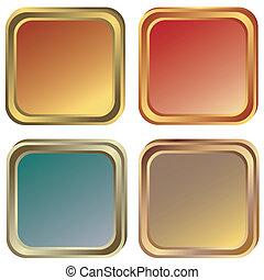 goud, brons, (vector), lijstjes, set, zilver