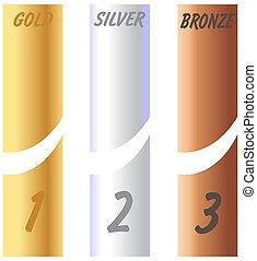 goud, etiketten, zilver, brons