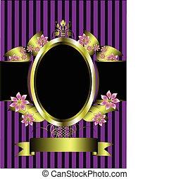 goud, floral, achtergrond, frame, paarse , classieke, gestreepte