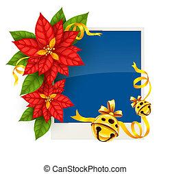 goud, groet, poinsettia, jingle, bloemen, kerstmis kaart, klokken