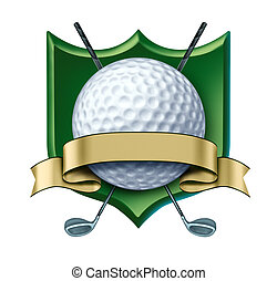 goud, kam, leeg, toewijzen, etiket, golf