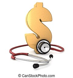 goud, ongeveer, dollar, computer, achtergrond, vrijstaand, 3d, genereren, wit rood, symbool, stethoscope