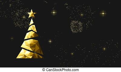 goud, poly, video, laag, jaar, nieuw, kerstmis kaart