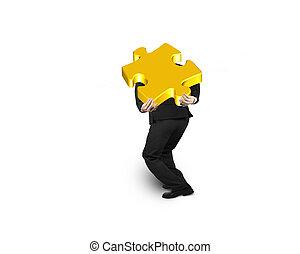 goud, raadsel, jigsaw, vrijstaand, verdragend, zakenman, witte , stuk, 3d