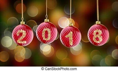 goud, schitteren, achtergrond., gelul, bokeh, 4k, kerstmis, hangend, getal, 2018