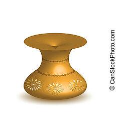 goud, vrijstaand, vaas, achtergrond., vector, witte
