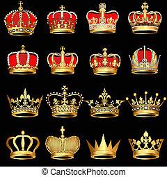 goud, zwarte achtergrond, kroontjes, set
