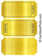 gouden, af)knippen, set, stubs, vrijstaand, included., steegjes, witte , ticket, set.