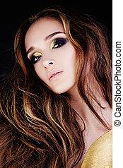 gouden, betoverend, mode, makeup, vrouw beeltenis