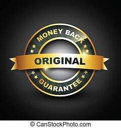 gouden, borg staan voor, back, mney, etiket