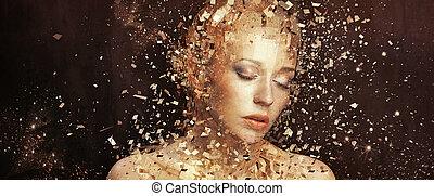 gouden, communie, kunst, splintering, foto, vrouw, duizenden