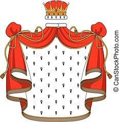 gouden, fluweel, mantel, koninklijke kroon, rood
