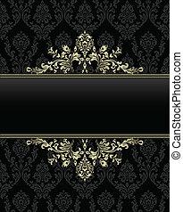 gouden, frame, barok, ba, seamless