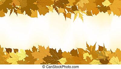 gouden, gemaakt, leaves., eps, herfst, 8, grens