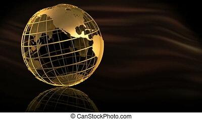 gouden, globe, spinnen