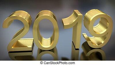 gouden, grijs, animatie, 2019, jaar, nieuw, 3d