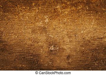 gouden, grunge, muur