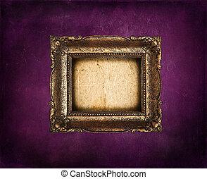 gouden, grunge, paarse , frame, muur, lege