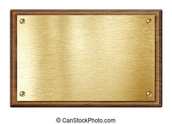 gouden, houten, vrijstaand, frame, witte , nameboard, schaaltje, of