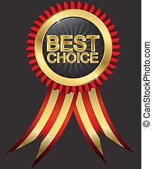 gouden, keuze, r, best, etiket, rood