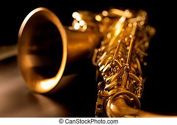 gouden, macro, brandpunt, selectief, saxofone, tenor saxofoon