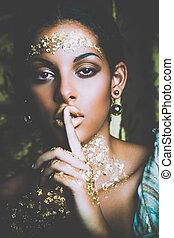 gouden, makeup, black , verticaal, vrouw, beauty, jonge