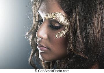 gouden, makeup, donker, studio, huid, verticaal