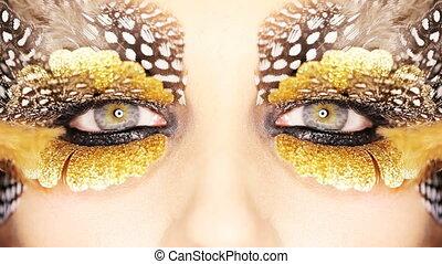 gouden, makeup, oog, creatief
