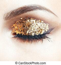 gouden, makeup, oog
