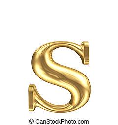 gouden, mat, juwelen, onderkast, verzameling, brief s, lettertype