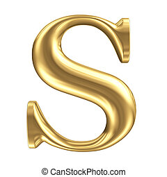 gouden, mat, juwelen, verzameling, brief s, lettertype