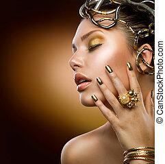 gouden, meisje, mode, makeup., verticaal