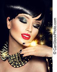 gouden, mode, beauty, makeup, accessoires, helder, model, meisje