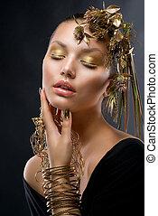 gouden, mode, makeup., luxe, verticaal, meisje